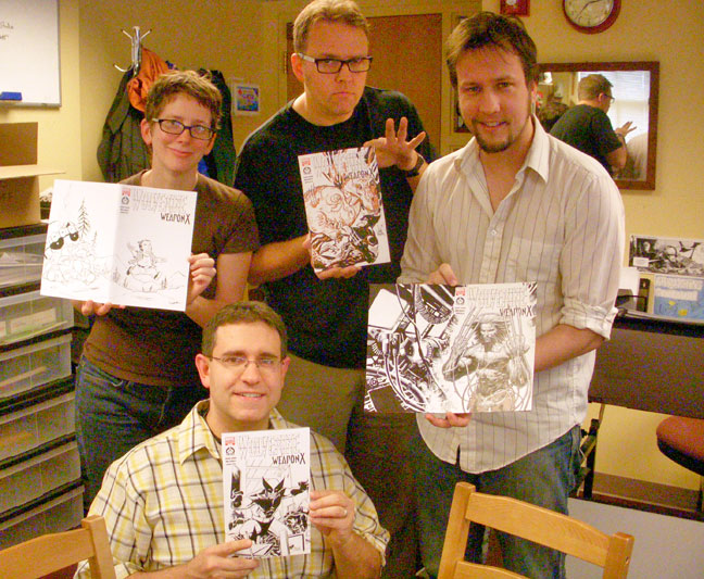Clockwise from left: Me, Jeff Parker, Dustin Weaver, and Steve Lieber